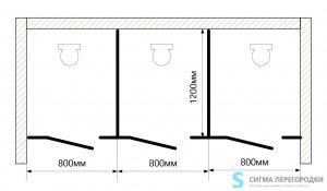 Сантехнические Перегородки 16мм из ЛДСП – 3 кабины